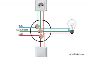Схема подключения розетка – выключатель – лампочка
