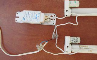 Подключение 6 люминисцентных ламп к вилке