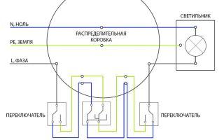 Как подключить перекрестный переключатель с трех мест?