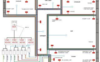 Типовая схема электропроводки в 3-х комнатной квартире