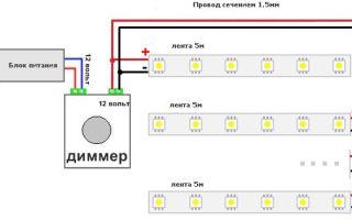 Как подключить светодиодную ленту через проходной диммер?