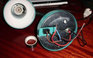 Как отремонтировать торшер, если на переключателе оторвались провода?