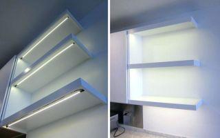 Делаем светодиодную подсветку полок в шкафу