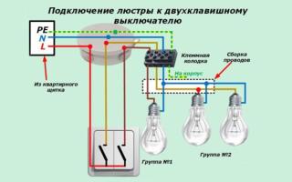 Подключение светильника, от которого идет 4 провода, к двум проводам со стены